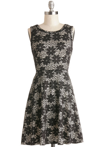 Art School Graduation Dress by Yumi - Black, White, Floral, Daytime Party, A-line, Sleeveless, Better, Scoop, Knit, Mid-length, Lace, Lace