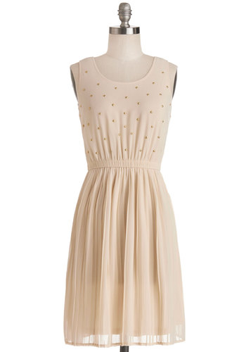 Star-Studded Cast Dress - Cream, Solid, Pleats, Studs, Casual, A-line, Sleeveless, Good, Scoop, Chiffon, Sheer, Woven, Mid-length, Top Rated