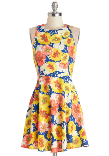 Bright Blooms Dress - Woven, Mid-length, Multi, Floral, Casual, A-line, Racerback, Good, Yellow, Blue, Spring, Summer