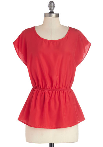 Working for the Weekdays Top in Red - Red, Work, Cap Sleeves, Woven, Mid-length, Valentine's, Spring, Red, Short Sleeve, Variation, Scoop
