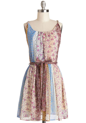 Little Vacation House on the Prairie Dress - Multi, Print, Pleats, Belted, Casual, A-line, Spaghetti Straps, Good, Scoop, Chiffon, Sheer, Woven, Mid-length, Boho, Spring, Summer, Festival