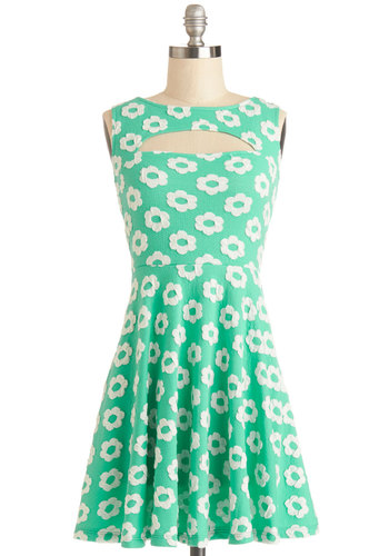 It's Your Lucky Daisy Dress - Mint, White, Floral, Cutout, Casual, A-line, Sleeveless, Good, Scoop, Jersey, Knit, Short, Spring, Sundress