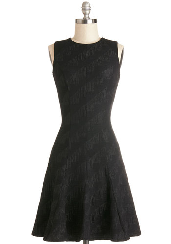 Lucky Lady Dress in Black - Knit, Mid-length, Black, Party, LBD, A-line, Sleeveless, Better, Crew, Exposed zipper, Variation, Work, Minimal