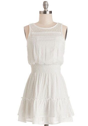 Suite Escape Dress - White, Lace, Tiered, Casual, A-line, Sleeveless, Good, Scoop, Short, Cotton, Sheer, Woven, Solid, Spring, Summer, Festival, Sundress