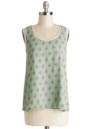 Eucalyptus Mist Top - Good, Green, Sleeveless, Sheer, Woven, Mid-length, Green, Print, Sleeveless, Spring, Summer, Blue, Trim, Casual