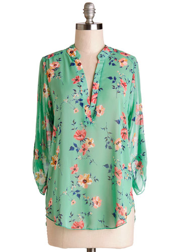 Chesapeake Bay Window Top - Chiffon, Sheer, Woven, Mid-length, Green, Floral, Work, Daytime Party, 3/4 Sleeve, Spring, Good, Green, Tab Sleeve