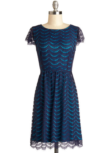 Front Row Sea Dress - Blue, Lace, Casual, A-line, Cap Sleeves, Good, Sheer, Knit, Mid-length, Lace