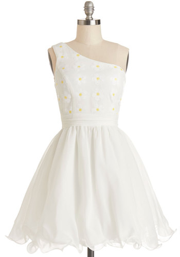 Daisies to Remember Dress - Mid-length, Chiffon, Woven, Mixed Media, White, Yellow, Floral, Sequins, Prom, Fit & Flare, One Shoulder, Better, Ruffles, Ballerina / Tutu, Party