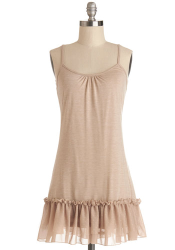 Drama Club Tunic - Good, Brown, Sleeveless, Jersey, Sheer, Knit, Lace, Long, Tan, Solid, Ruffles, Spring, Summer, Lace, Spaghetti Straps