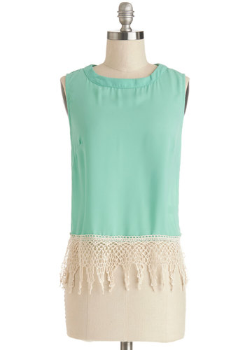 Bebidas en Ibiza Top - Green, Sleeveless, Chiffon, Sheer, Woven, Lace, Short, Mint, Tan / Cream, Solid, Crochet, Daytime Party, Sleeveless, Spring, Summer, Festival, Beach/Resort, Good