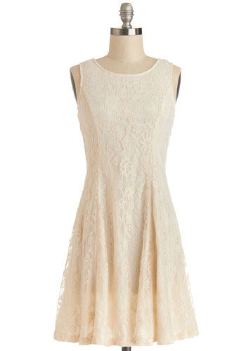 Stun and Only Dress - Knit, Lace, Short, Cream, Solid, Lace, Wedding, Party, Bride, A-line, Sleeveless, Good, Scoop