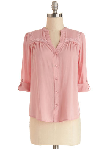 Treat the Parents Top in Pink - Sheer, Woven, Mid-length, Pink, Solid, Buttons, Lace, Work, Long Sleeve, Spring, Pink, Tab Sleeve, Lace, Valentine's, Pastel
