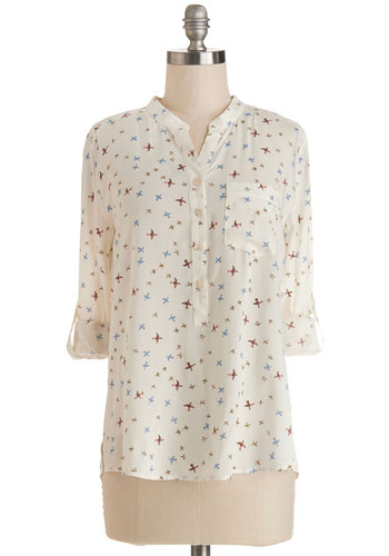 Dawn Flight Top - Sheer, Woven, Mid-length, White, Print with Animals, Buttons, Pockets, Work, Long Sleeve, Spring, Good, White, Long Sleeve, Multi, Casual, Critters