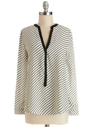 Inspiring Minds Top - Sheer, Woven, Mid-length, Multi, Black, Multi, Stripes, Buttons, Work, Long Sleeve, Good, Multi, Long Sleeve