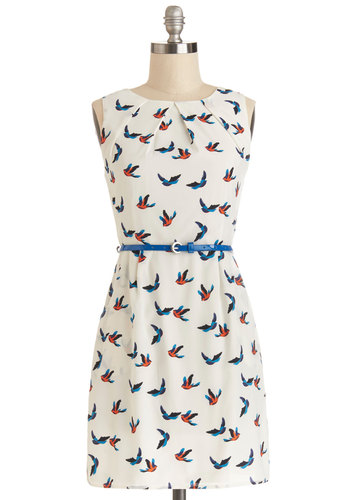 Best Flock Forward Dress - Cream, Multi, Print with Animals, Belted, Casual, Critters, A-line, Good, Crew, Chiffon, Sheer, Woven, Short, Pockets, Sleeveless, Bird, Woodland Creature