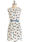 Best Flock Forward Dress - Cream, Multi, Print with Animals, Belted, Casual, Critters, A-line, Good, Crew, Chiffon, Sheer, Woven, Short, Pockets, Sleeveless