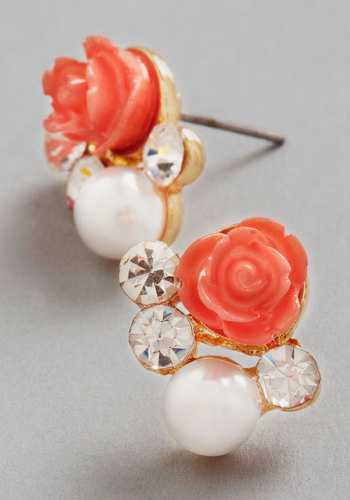 Sashays Gone By Earrings in Coral - Coral, White, Solid, Flower, Pearls, Rhinestones, Wedding, Good, Variation, Bridesmaid, Gold, Top Rated, Bride