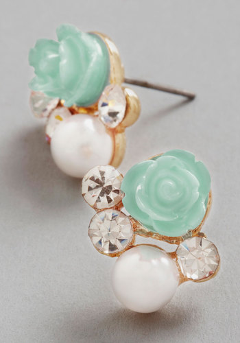 Sashays Gone By Earrings in Mint - Mint, White, Solid, Flower, Pearls, Rhinestones, Wedding, Good, Variation, Pastel, Gold