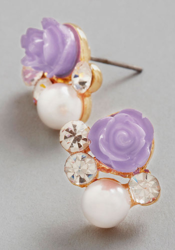 Sashays Gone By Earrings in Lilac - Purple, White, Solid, Flower, Pearls, Rhinestones, Wedding, Good, Variation, Gold, Pastel, Bridesmaid, Bride