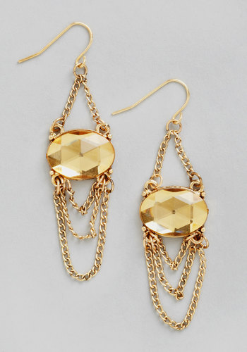 Night at the Opulence Earrings - Tan, Solid, Chain, Wedding, Statement, Gold, Gold, Rhinestones