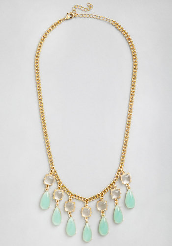 Droplets of Dew Necklace in Mint - Mint, White, Solid, Tiered, Wedding, Statement, Gold, Variation, Pastel