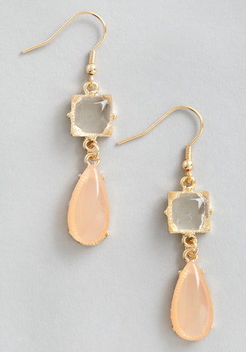 Droplets of Dew Earrings in Peach - Orange, White, Solid, Rhinestones, Tiered, Wedding, Gold, Bridesmaid, Bride, Coral