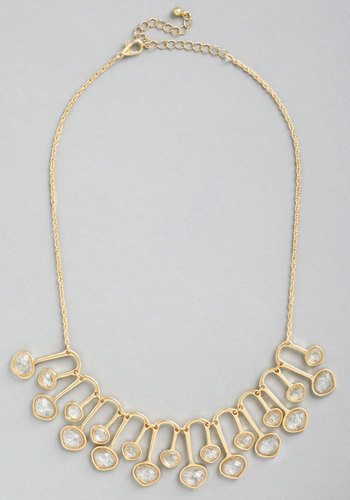 Graham Street Glam Necklace - White, Solid, Rhinestones, Wedding, Statement, Gold, Gold