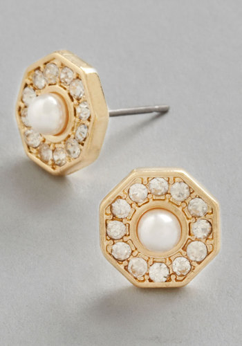 Girl Who's Got it All Earrings - Solid, Pearls, Rhinestones, Luxe, Gold, Gold, White, Social Placements