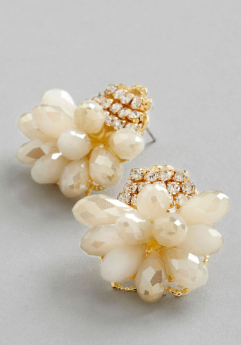 So to Speech Earrings - White, Solid, Rhinestones, Wedding, Luxe, Special Occasion, Pearls
