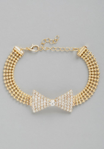Bowtie the Knot Bracelet - White, Solid, Bows, Rhinestones, Wedding, Gold, White