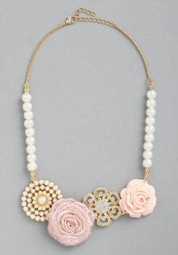 Charming Collection Necklace - Cream, Pink, Solid, Flower, Pearls, Rhinestones, Wedding, Statement, Gold, Gold