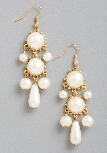 Chandelier to Eternity Earrings - Cream, Solid, Pearls, Tiered, Wedding, Statement, Gold, Gold