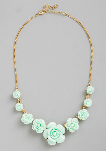 Bead of Roses Necklace in Mint - Mint, Solid, Flower, Wedding, Pastel, Darling, Gold, Good, Variation, Bridesmaid, Bride, Top Rated