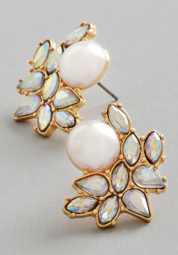 Photo Opulence Earrings in Gold - White, Solid, Rhinestones, Luxe, Gold, Good, Variation, Pearls