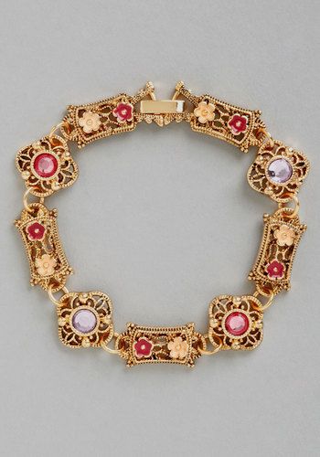 Delight in the Details Bracelet - Pink, Solid, Flower, Rhinestones, Wedding, Vintage Inspired, 20s, 30s, Darling, Gold, Better, Exclusives, Purple, Gold, Bridesmaid, Bride