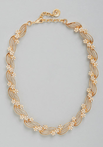 Winsome Waves Necklace - Solid, Rhinestones, Wedding, Vintage Inspired, 20s, 30s, Luxe, Gold, Better, Exclusives, Gold, Pearls