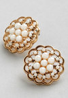 Lustrous Clusters Earrings - Cream, Solid, Pearls, Wedding, Vintage Inspired, 20s, 30s, Luxe, Gold, Good, Exclusives