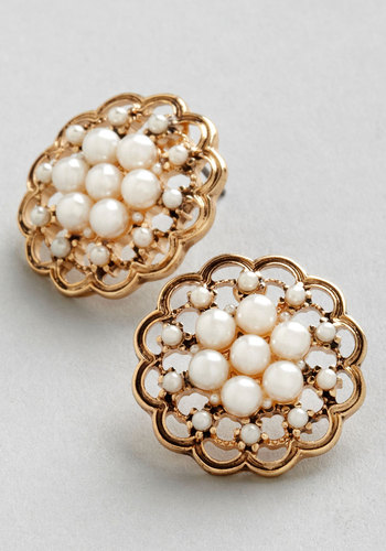 Lustrous Clusters Earrings - Cream, Solid, Pearls, Wedding, Vintage Inspired, 20s, 30s, Luxe, Gold, Good, Exclusives, Bridesmaid, Bride