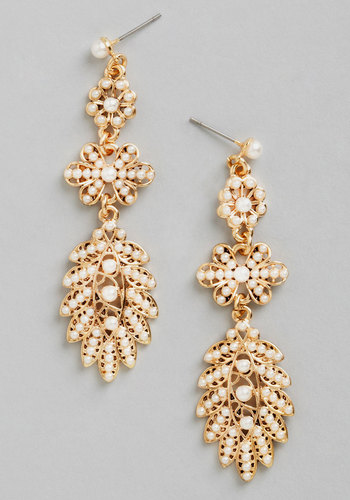 One for the Guestbooks Earrings - Cream, Solid, Pearls, Tiered, Wedding, Vintage Inspired, 20s, 30s, Luxe, Gold, Better, Exclusives, Gold