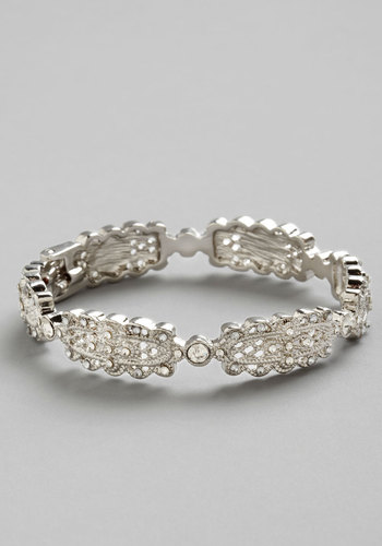 Art Decadence Bracelet - Solid, Vintage Inspired, 20s, 30s, Statement, Silver, Good, Wedding, Silver