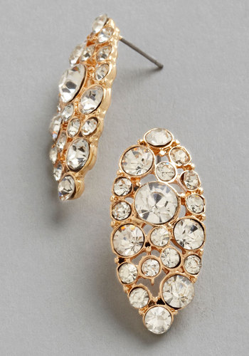 Long-Awaited Earrings - White, Solid, Rhinestones, Wedding, Silver, Good, Gold, Social Placements, Bridesmaid, Bride