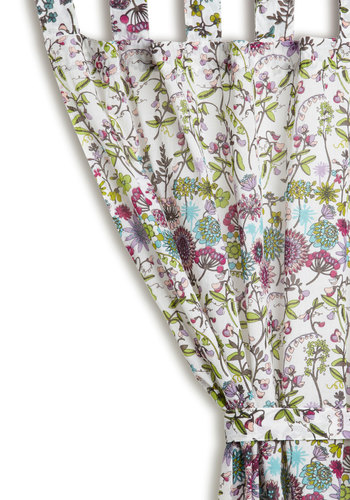 Botanical Boudoir Curtain - Cotton, Woven, Multi, Boho, Better, Green, Blue, Purple, White