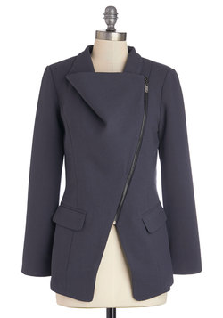 Milan a Roll Blazer in Slate – Long