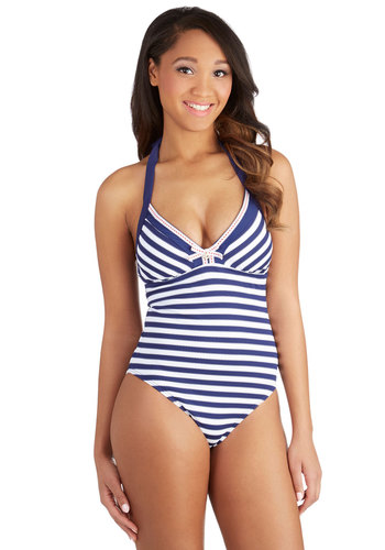 Betsey Johnson Diving Competition One-Piece Swimsuit by Betsey Johnson - Knit, Red, Blue, White, Stripes, Beach/Resort, Nautical, Summer