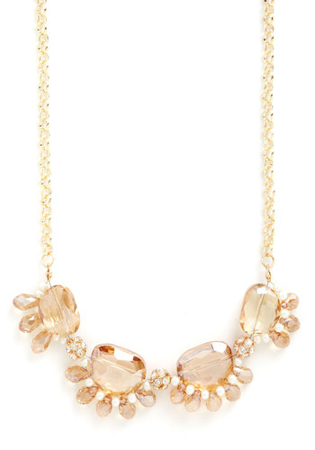 Champagne Under the Chandelier Necklace - Tan / Cream, Solid, Pearls, Statement, Gold, Good, Gold, Rhinestones, Spring