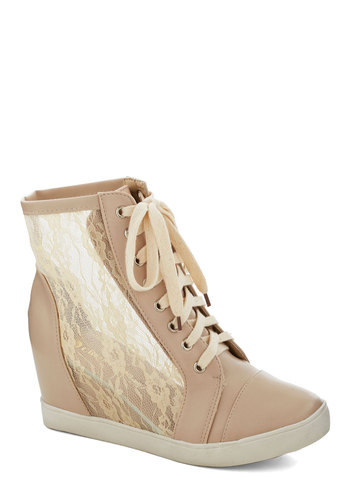Lace Your Steps Bootie - Mid, Sheer, Faux Leather, Lace, Cream, Solid, Lace, Casual, Urban, Good, Wedge, Lace Up