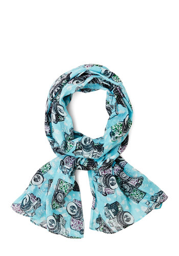 Insta-glam Scarf by Disaster Designs - Cotton, Sheer, Woven, Mint, Multi, Novelty Print, Casual, Better, International Designer