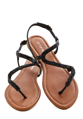 Walk Along the Waves Sandal - Flat, Faux Leather, Black, Solid, Beads, Beach/Resort, Summer