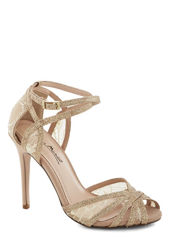 Glitz and Gleam Heel - High, Knit, Sheer, Gold, Tan / Cream, Solid, Lace, Glitter, Special Occasion, Prom, Wedding, Bride, Peep Toe, Lace