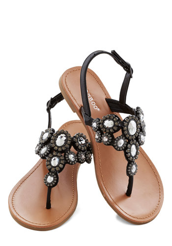 Jewel Find a Way Sandal - Flat, Faux Leather, Black, Solid, Beads, Rhinestones, Daytime Party, Luxe, Good, Slingback, Summer